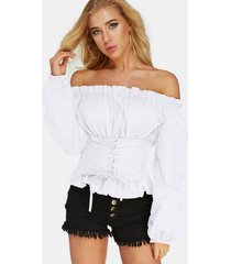 white lace-up design off the shoulder half lantern sleeves top