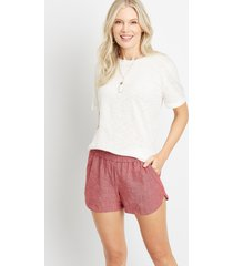 maurices womens red linen pocket dolphin 3.5in shorts