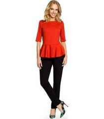 blouse moe m007 elegante effen peplum top - rood
