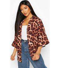 leopard print kimono, brown