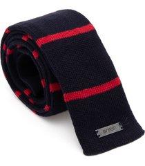 gravata tricot listras - azul