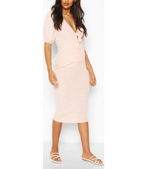 zwangerschaps geribbelde midi borstvoeding jurk met strik, pink