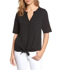women's caslon tie front tee, size small - black