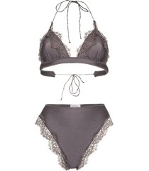 oséree travaille lace triangle bikini - grey
