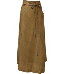 muller of yoshiokubo plaid asymmetric skirt - yellow