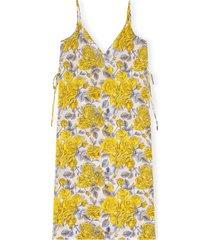 women's ganni organic cotton cover-up dress, size large/x-large - yellow