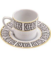jogo de xícaras de café com pires egypt 90ml lyor porcelana com 6 peças