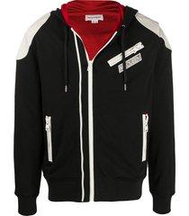 alexander mcqueen contrasting shoulders zipped hooded jacket - black