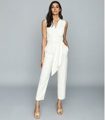 reiss romy - wrap-tie tailored jumpsuit in white, womens, size 12