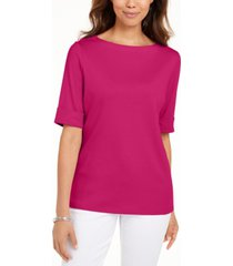 karen scott petite cotton elbow-sleeve t-shirt, created for macy's