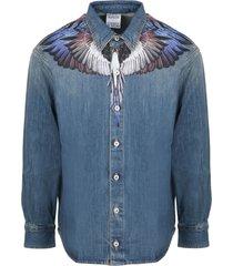 marcelo burlon wings mid wash ls denim shirt