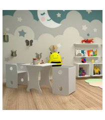 conjunto de mesa quadrada infantil com 2 bancos   banquetas kitcubos branco