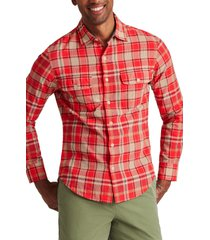 men's bonobos madras slim fit plaid button-up shirt, size x-small - red