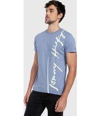 camiseta azul-blanco tommy hilfiger