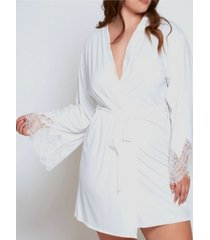 icollection plus size ultra soft lace trimmed robe