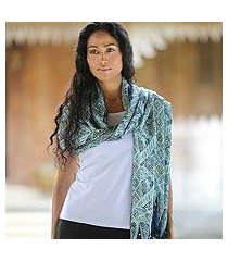 silk batik shawl, 'javanese kingdom' (indonesia)