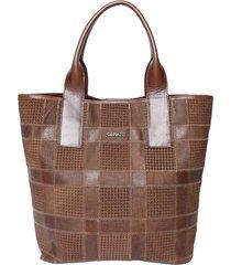 bolsa couro griffazzi shopping bag marrom