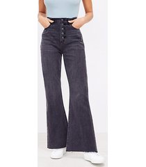 loft button front high rise sandal flare jeans in black