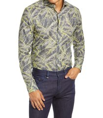 men's boss jason slim fit dress shirt, size 16 - black