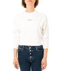calvin klein felpa donna micro branding sweatshirt j20j215463.yaf