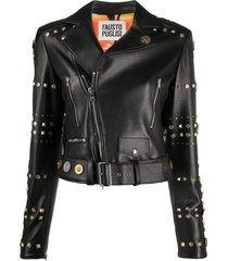 fausto puglisi stud-embellished logo biker jacket - black