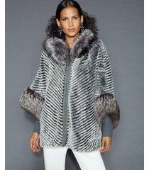 the fur vault fox-fur-trim rabbit jacket