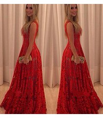 women red dress wedding formal ball gown party prom lace skirt long sleeveless