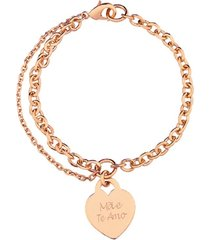 pulseira coração com nome personalizado banhado a ouro rosé
