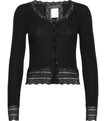 silk cardigan short ls w/wide lace gebreide trui cardigan zwart rosemunde