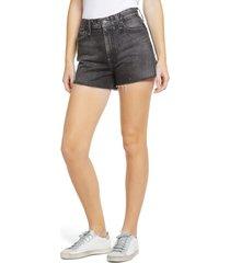 women's ag alexxis high waist raw hem cutoff denim shorts, size 30 - black