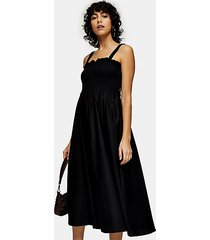 black shirred poplin bodice pinafore dress - black