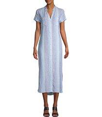 split-neck linen midi shirt dress