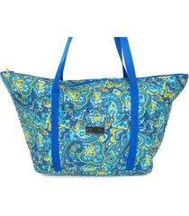 bolsa tote-shopper tecido ana viégas  espaçosa praia azul