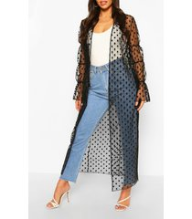 dobby mesh shirred sleeve maxi kimono, black