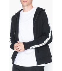 calvin klein jeans monogram tape reg zip through tröjor svart