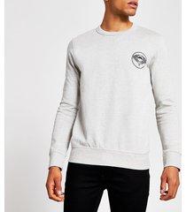 river island mens selected homme grey printed sweatshirt