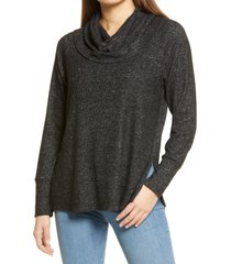 women's bb dakota cowl me maybe brushed knit tunic, size large - black