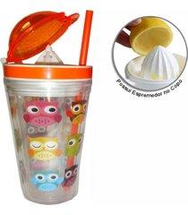 copo de plastico com canudo e espremedor sxys-2101 laranja - tricae