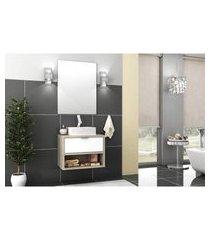 conjunto banheiro 60 cm barrique e branco mdf lilies móveis