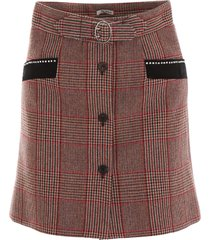 miu miu tartan mini skirt with crystals