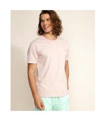 camiseta masculina básica com bordado manga curta gola careca rosa claro