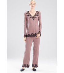 charlize v-neck pajamas set, women's, brown, size xs, josie natori