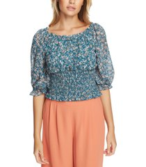 1.state smocked floral-print top