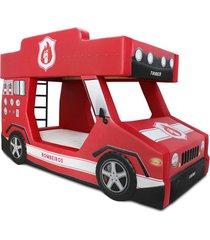 beliche bombeiro - cama carro cama carro do brasil vermelho