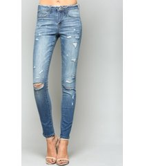 vervet mid rise distressed waistband skinny jeans