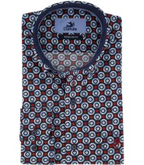culture overhemd blauw rood dessin regular fit