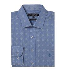 camisa dudalina manga longa jacquard fio tinto masculina (azul claro, 6)