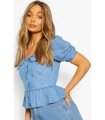 button front frill denim top, mid blue