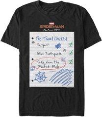 marvel men's spider-man far from home travel checklist, short sleeve t-shirt