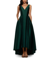 betsy & adam satin fit & flare gown